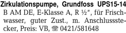 Zirkulationspumpe, Grundf -