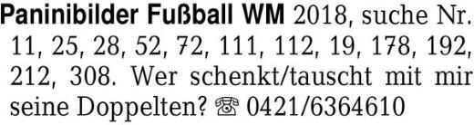 Paninibilder Fußball WM 2 -
