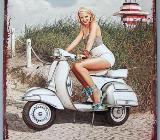 Blechschild Scooter - Motorroller - Pin Up Girl - 20x25 cm - Scheeßel