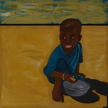 """Acrylbild """"African Impression #1 … about a Boy"""" von Ramke.Art - Bremen"""