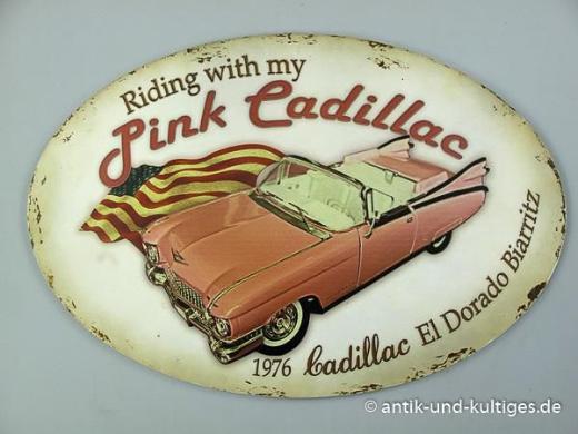 Blechschild Pink Cadillac - oval - 50x33 cm - Scheeßel