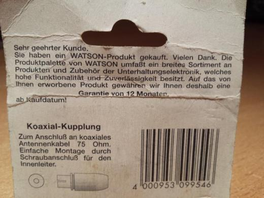 """Watson Antenne Koax - Kupplung Buchse Selbstmontage """" NEU """" - Verden (Aller)"""