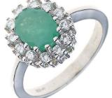 Damen Ring 925 Sterling Silber rhodiniert 1 Smaragd NEUWARE - Holdorf