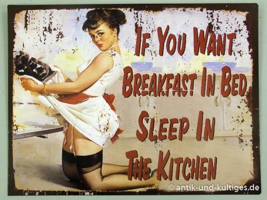 Spaßiges Blechschild Breakfast in Bed - Pin Up Girl - 25x33 cm - Scheeßel