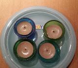 4 x Glas Teelichthalter mit Teller - Verden (Aller)