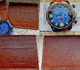 Originelle Herren-Sport-Armbanduhr mit Leder-Armband und Leder-Karten-Etui, neu! - Diepholz