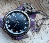 Ungetragene Taschenuhr mit Uhrkette, alles Edelstahl, geschliffenes Uhrglas, Batterie neu! - Diepholz