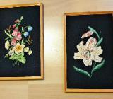 2 x Stück Wandbilder Gobelin Stickbilder Blumen 19,5 cm x 29 cm - Verden (Aller)