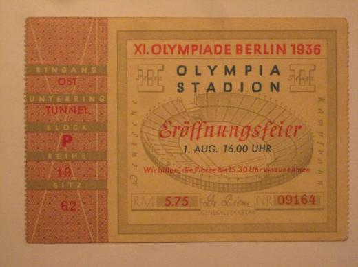 Original Ticket XI. Olympische Spiele 1936 - Thedinghausen
