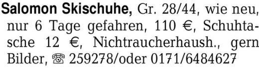 Salomon Skischuhe, Gr. 28 -