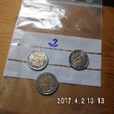 3 Stück 2 Euro Münzen aus drei Ländern Zirkuliert 2