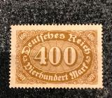 Briefmarke Deutsches Reich Vierhundert Mark 1922 - Verden (Aller)