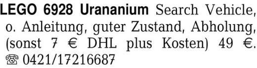 LEGO 6928 Urananium Searc -