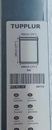 "IKEA Tupplur Verdunklungsrollo schwarz 180 cmx195 cm WM Jalousie "" NEU "" - Verden (Aller)"