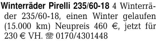 Winterräder Pirelli 235/6 - Ganderkesee