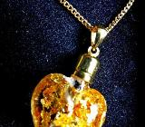 Glas-Herz-Anhänger (Blattgold-Füllung!) an vergoldetem Halskettchen in edler Schatulle - Diepholz