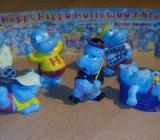 """4 x Ü-Eier """" Happy Hippos """" Fitness + Traumschiff + Company + Hollywood Stars Erscheinungsjahr 1988 -1997 - Verden (Aller)"""