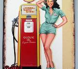 Blechschild Service Station - Pin Up Girl - 25x20 cm - Scheeßel
