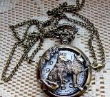 """Neue Quarz-Taschenuhr mit """"Wolf-Motiv"""" und Uhr-Kette, noch ungetragen! - Diepholz"""