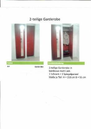2-teilige Garderobe in bordeaux-matt Lack - Achim