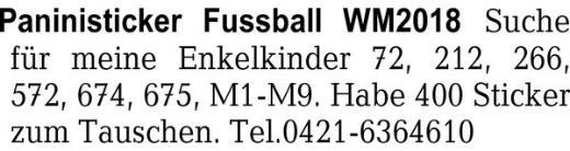 Paninisticker Fussball WM -