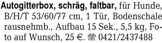 Autogitterbox, schräg, fa -