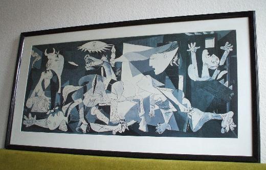 Riesig! Pablo Picasso, Guernica; gerahmt unter Glas ca. 150x80 cm