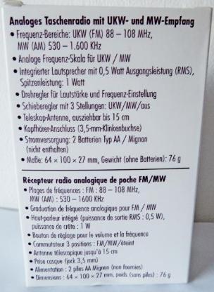 Kompaktes Taschenradio UKW/MW, Batterie, Antenne, Anleitung, neu in OVP - Diepholz