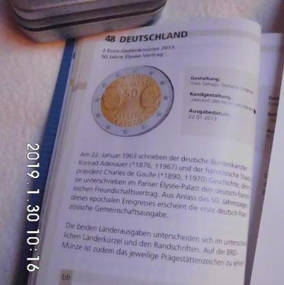 2 Euro Elysee'Vertrag Stempelglanz J