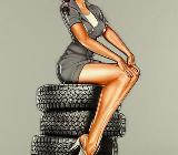 Blechschild Reifen - Pin Up Girl - 59x28 cm - Scheeßel