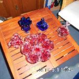 5 farbige Glasschalen