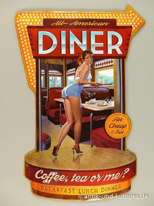Blechschild Diner - Pin Up Girl - 44x30 cm - Scheeßel