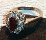 Weißgold, Rubin & Diamanten Ring - Jever