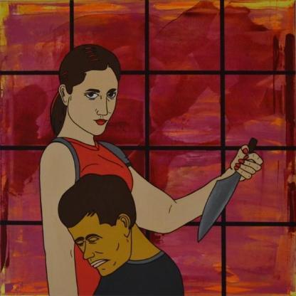 "Acrylbild ""Woman With A Knife"" von Ramke.Art - Bremen"