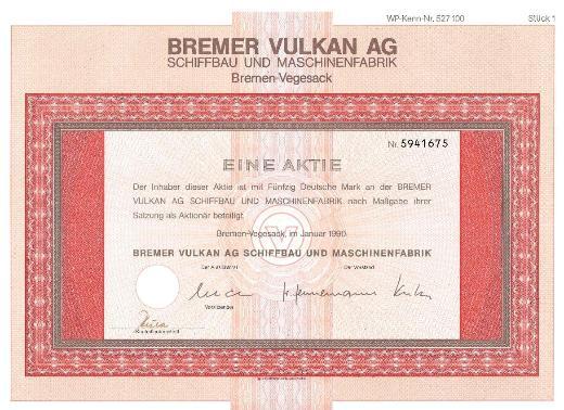 Aktien des Bremer Vulkan
