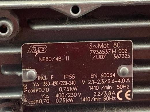 Flanschmotor/Elektromotor ATB Typ NF80/4B-11 - Emstek