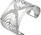 Armspange / offener Armreif aus Edelstahl mit Glitzereffekt Armband breit - Holdorf