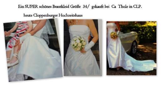 sehr schönes Brautkleid mit Schleppe Größe  XS = 34 - Garrel