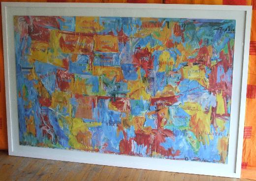 Riesig!!! Jasper Johns - Map - Gerahmt unter Glas ca.182 x 123 cm
