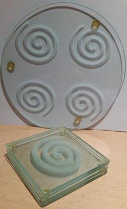 """Glasuntersetzer 5""""er Set aus Acryl mit Spiralengravur - Verden (Aller)"""