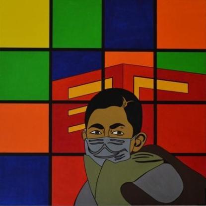 """Acrylbild """"Man With A Mask"""" von Ramke.Art - Bremen"""