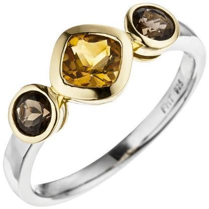 Damen Ring 925 Silber bicolor vergoldet 1 Citrin 2 Rauchquarze  NEU - Holdorf