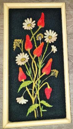 3 x Stück Gobelin Stickbild Wandbild Blumen mit Rahmen - Verden (Aller)