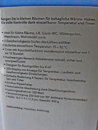 Mini-Steckdosen-Heizlüfter, 350 W, 2stufig, Timer, Keramik-Heizelement, neu in OVP - Diepholz