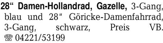 "28"" Damen-Hollandrad, Gaz -"