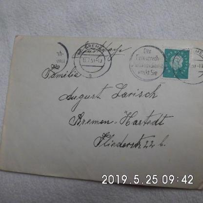Brief von 1959 gelaufen - Bremen