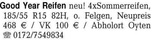 Good Year Reifen neu! 4xS -