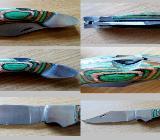 Gutes Taschenmesser, Stahl, Echtholz-Griffschalen + Leder-Etui mit Wetzstab - Neu! - Diepholz