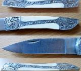 Gutes Taschenmesser mit Knochen-Griffschalen & Leder-Gürteltsche - Neu! - Diepholz
