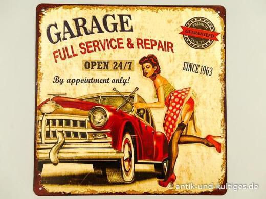Blechschild Garage Full Service - Pin Up Girl - 30x30 cm - Scheeßel